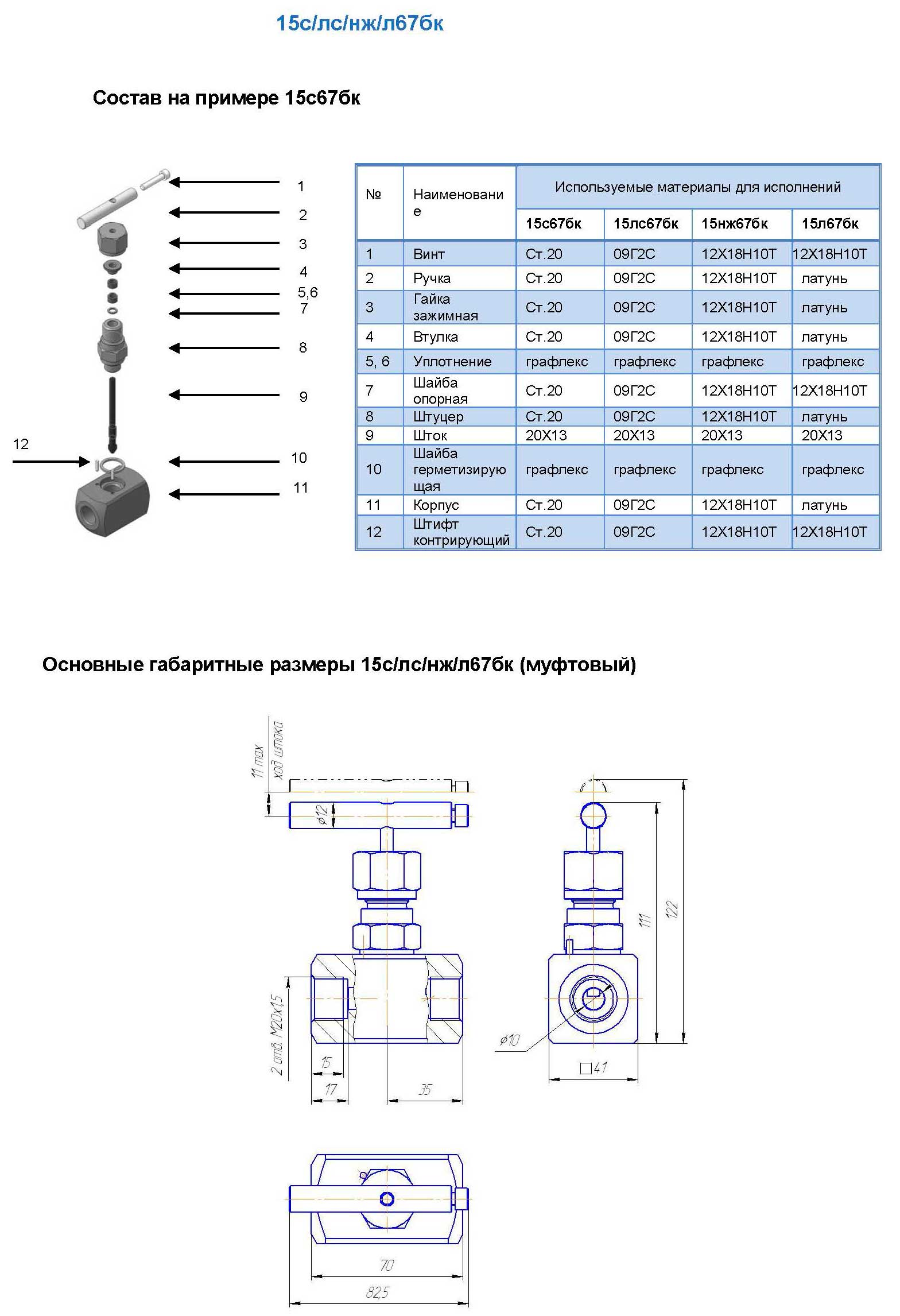 Клапан игольчатый 15с67бк
